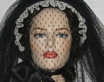 Victorian Civil War Bonnet - The Ghost of Mary Surratt