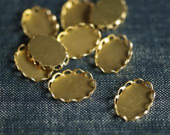 Small 14x10mm Oval Lace Edge Settings - Raw Brass - 12pcs