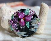 Elizabeth Creations VIOLET LILLIES spree focal artisan lampwork bead - SRA