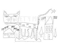 Primitive Stitchery Pattern Cat Americana Patriotic  Punch Needle Embroidery Coloring Sheet  Instant Download by Hickety Pickety