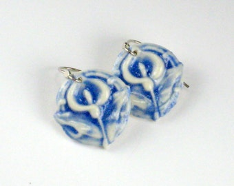 Porcelain Earrings Lily In Navy Blue With Sterling Silver Earwires