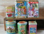 colorful Tea Tins - decorating, jewlery making - Asian motifs and graphics