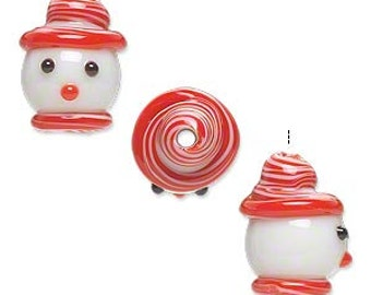 Christmas Snowman w/Red Hat & Scarf Glass Bead Pendant 18x12mm 2 pieces