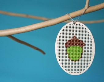 Acorn Necklace - embroidery cross-stitch crossstitch unique modern nature woodland forest woods oak