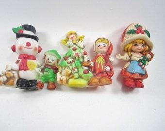 Vintage 1970's Christmas Ornaments - Retro Plastic Ornaments - Set of 7