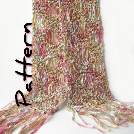 Easy knit scarf printable pattern pdf, Ripple scarf, drop stitch scarf, Colinette Giotto, bulky scarf, ribbon knit, spring, instant download