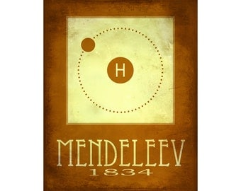 Mendeleev 8x10 Print - Periodic Table of Elements Poster, Rock Star Scientist Art, Hydrogen Diagram, Chemical Element, Nerdy Chemistry Art,