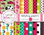 40% off Ladybug Digital Papers 16 high resolution jpgs with polka dots, INStANT DOWNLOAD