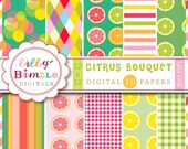 40% off Citrus digital papers with lemons, limes, grapefruit, summer scrapbook paper INSTANT DOWNLOAD