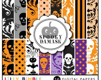 80% off SPOOKY DAMASK digital scrapbooking papers ghosts, skulls, mix and match Instant Download