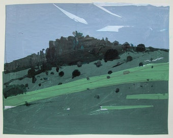 Calm, Lost Dog Hill, Original Landscape Collage Painting on Paper, Stooshinoff