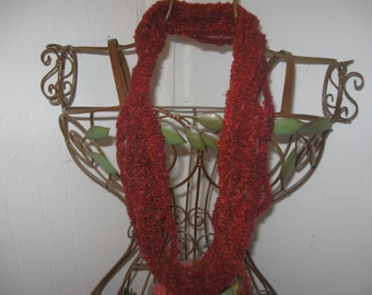 Sunset Red Chain Scarf CrochetedCLEARANCE