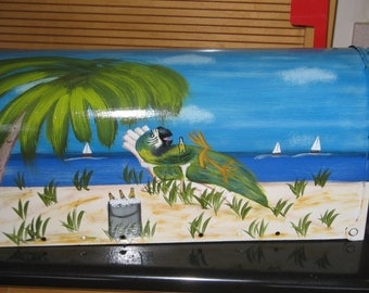 Parrot Beach Themed Hand Painted Standard Post Mailbox Steel Mailboxes
