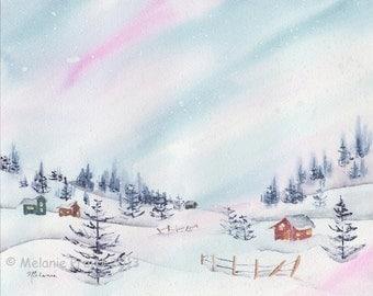 Snowy Winter Village ORIGINAL trees woods sunset landscape watercolor painting by Melanie Pruitt EBSQ SFA