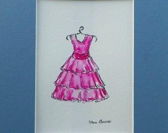Pink Dress Girls Watercolor Childrens Fashion Kids Art Original Painting by California Artist debra alouise