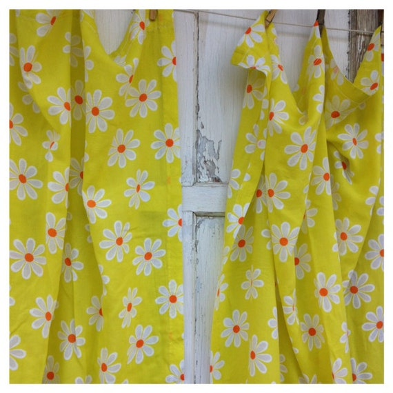 Vintage Floral Curtains-Flower Power Yellow And Orange