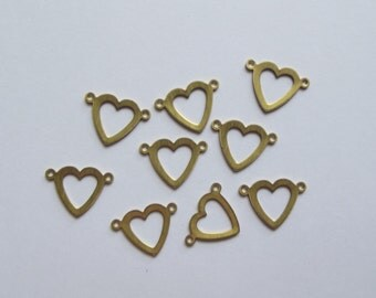 Vintage brass heart cutout charms
