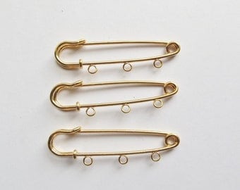 Gold plated 3 loop kilt pins