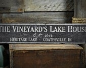 Custom Family Lake House Sign - Distressed Rustic Hand Made Vintage Wooden ENS1000536