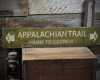Appalachian Trail Maine to Georgia Wood Sign - Rustic Hand Made Vintage Wooden Sign ENS1000182