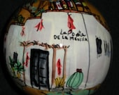 """Hand-Painted Gourd Christmas Ornament/decoration by Artist Sandy Short """"La Posta, Mesilla, New Mexico""""."""