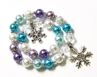 Matching Girl and Doll Jewelry Me & My Doll Name bracelet set. Winter themed frozen freezing cold snowflake bracelet, Snowflake Charm