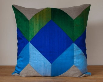"""Geometric Cube Throw Pillow in Cool - 20"""" Color Block Pillow - LAST ONE!"""