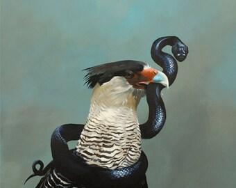 Coup De Grace As A Philosophy Of Life 24 x 24 Art Print - Bird - Bird of Prey - Snake - Cara Cara - Animal - Nature - Gift  - Giclee