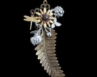 Long Brass Leaf Necklace