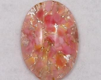 13mm x 18mm Pink/Silver Foil Oval Cabochon #AHM001