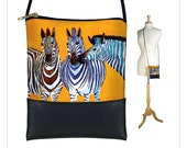 Clara Nilles Small sling bag, Cross body purse, Fits iPhone 6 Plus Case, Small shoulder bag, Phablet Cover, Zebras, orange  RTS