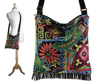 Hippie Crossbody Bag, Fringe Purse, Cross body Shoulder Bag, colorful green lizard gecko tapestry fabric hobo bag RTS