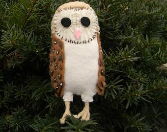 Barn Owl Felt Bird Ornament,embroidered, Home Decor