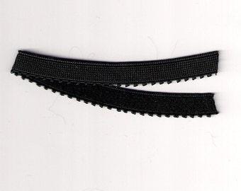 NEW 3/8 BLACK Picot Plush Lingerie Strap Elastic Headband 5 yds.