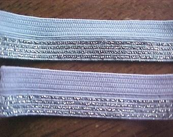 FOLDOVER Elastic Pastel PURPLE w SILVER Glitter Lurex 5/8 inch Foldover Elastic 5 yds.