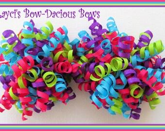 Bright Petite Korker Set, hair bows, birthday bows, pigtail set, toddler girl, girls, international shipping