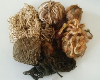 YARN - brown yarns, taupe yarns, great for scarves, trim, needle felting