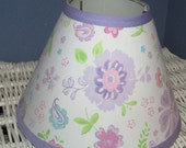 ON SALE DAISY Garden Party Lavender Kids Baby Nursery Decor  with Pottery Barn Kids fabric, Lamp Shade, Any Color Trim, 4 Sizes