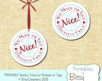 Santa's Nice List Printable Tags or Stickers 2 inch round Instant Download