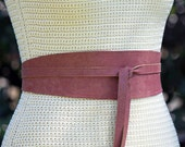 REVERSIBLE Distressed Rusty Marsala Red - double side Leather Sash Obi Wrap Belt - XS S M L XL  Petite & Plus Size - 3 inch wide dusty red