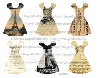 Party Dress Collection 2 Tags French Ephemera INSTANT DOWNLOAD  DIGITAL Collage Sheet