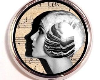 Flapper Woman Pill box Roaring Twenties Pill Case Holder Jazz Age Pillbox