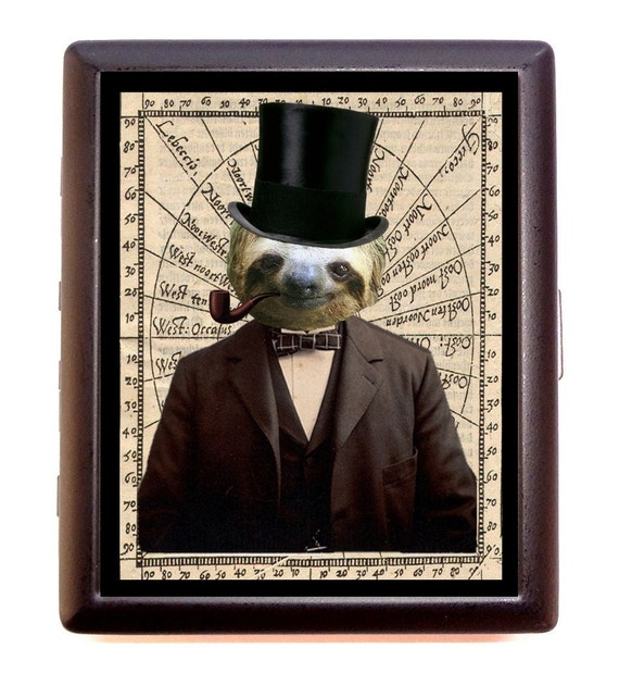 Steampunk Sloth Cigarette Case Victorian Anthropomorphic Animal in Top Hait Suit Whimsical ID Business Card Credit Card Holder Wallet