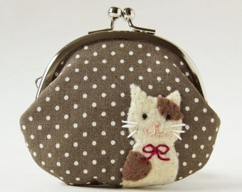 Coin purse cat purse clasp purse brown and cream cat on mocha polka dots cat coin pouch cat coin purse cat lover kiss lock coin purse