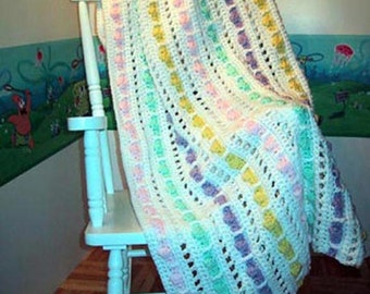 Pastel Raindrops  - Hand Made Crocheted Afghan - BRAND NEW