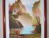 Vintage Asian Autumn Landscape Oil Painting with Pagoda Lake & Mountains Small Space Framed Mid Century