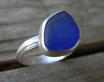 cobalt blue sea glass ring - matte silver finish - size 8