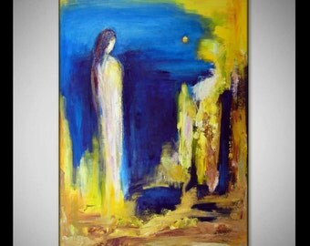 60' Original ABSTRACT Oil Painting Yellow MODERN Art - Huge EXPRESSIONIST Art on Canvas 60x40 by BenWill