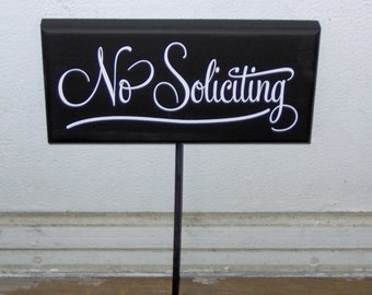No Soliciting Wood Vinyl Yard Stake Porch Sign Home Decor Garden Decoration Sign Decor Private Property Sign Yard Sign Outdoor House Sign