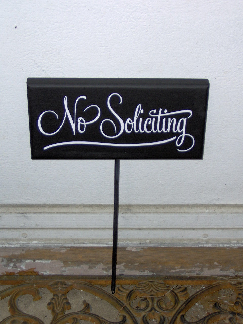 no soliciting wood vinyl yard stake porch sign home decor. Black Bedroom Furniture Sets. Home Design Ideas